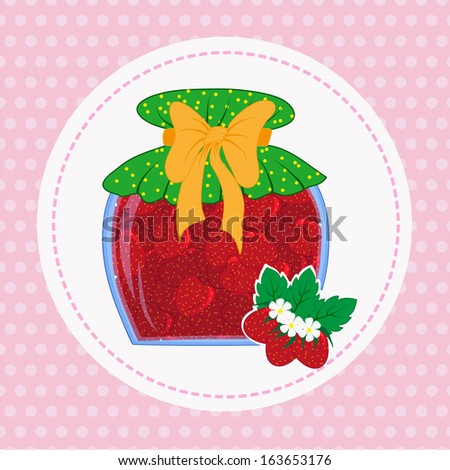 bank with strawberry jam sweet home workpiece - stock vector