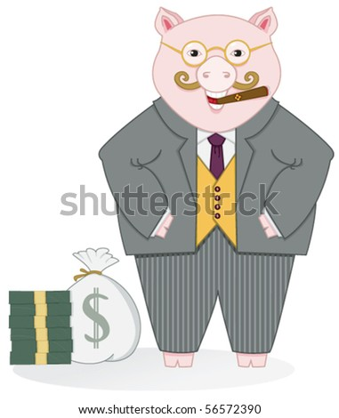 Banker Pig - Click on my portfolio for more images in this series - stock vector