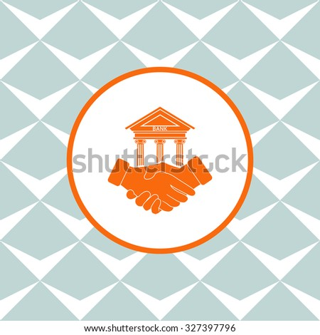 Banking agreement vector icon. Seamless background with geometric design. - stock vector