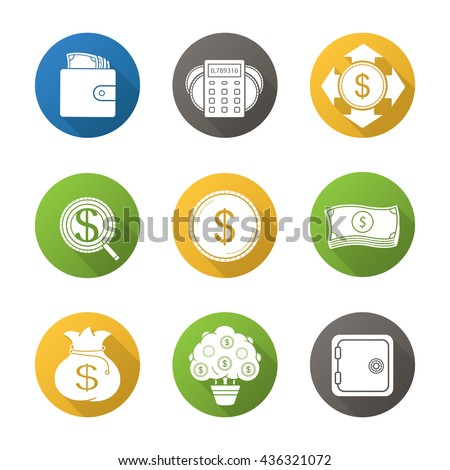 Banking and finance flat design long shadow icons set. Purse with cash, money spending calculations, investor search, dollar coin and bills stack, bank vault, money bag and tree symbols. Vector - stock vector