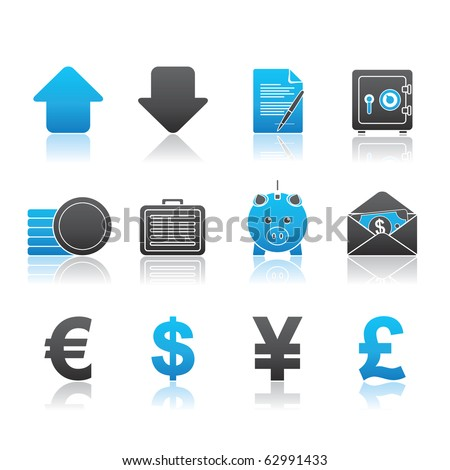 Banking and Finance icon set 18 - Blue Series.  Vector EPS 8 format, easy to edit. - stock vector