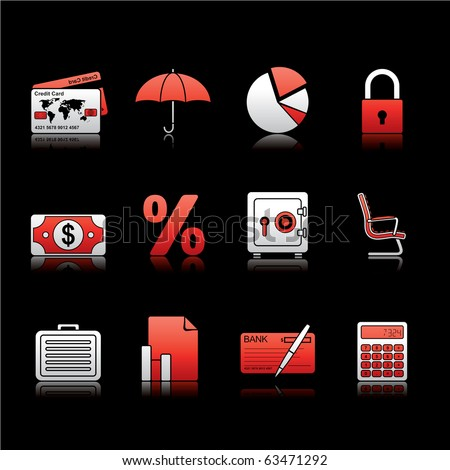 Banking and Finance icon set 16 - White and Red Series.  Vector EPS 8 format, easy to edit. - stock vector
