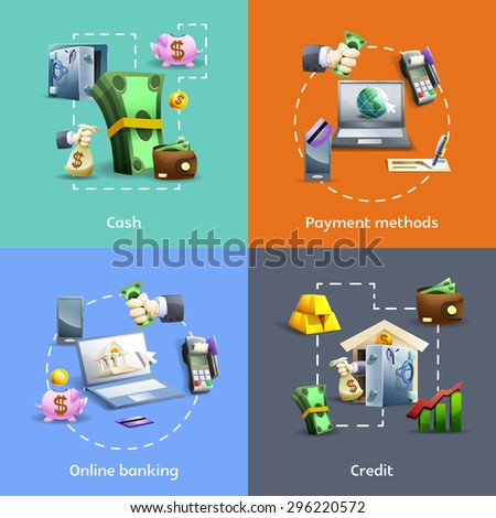 Banking and payment methods cartoon icons set with online operations  and credit isolated vector illustration  - stock vector