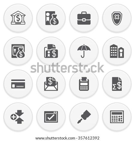 Banking black icons with buttons. - stock vector
