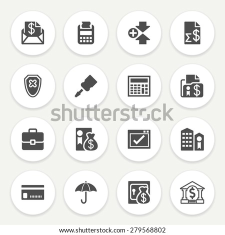 Banking black icons with buttons on gray background. - stock vector