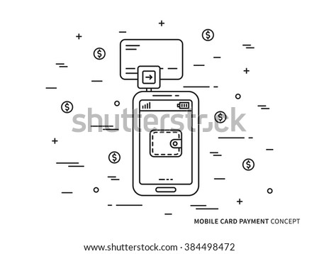 Banking card mobile payment vector linear (line) illustration. Smartphone card swiping payment technology creative concept. Secure card payment (wallet, transfer, customer, wireless) graphic design. - stock vector