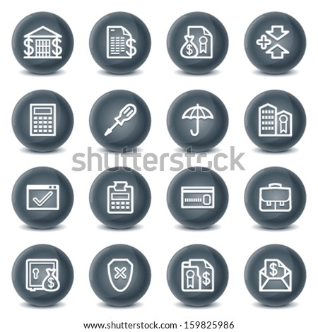 Banking contour icons on black buttons. - stock vector