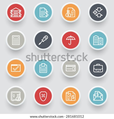 Banking contour icons with color buttons. - stock vector