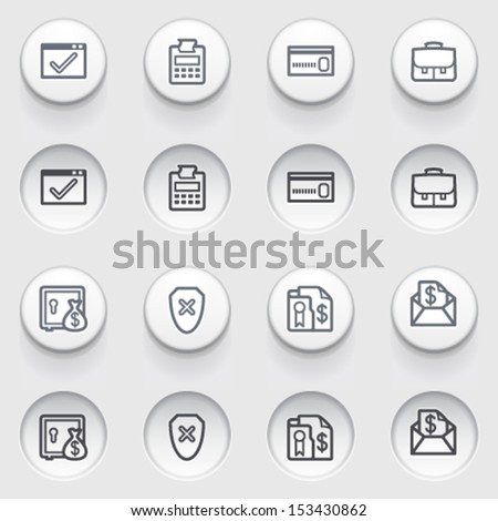 Banking contour web icons on white buttons. - stock vector