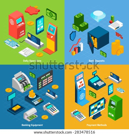 Banking design concept set with daily operations deposits equipment payment methods isometric icons isolated vector illustration - stock vector