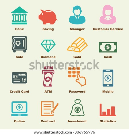 banking elements, vector infographic icons - stock vector