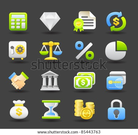 Banking,Finance,business icon set | Dark series - stock vector