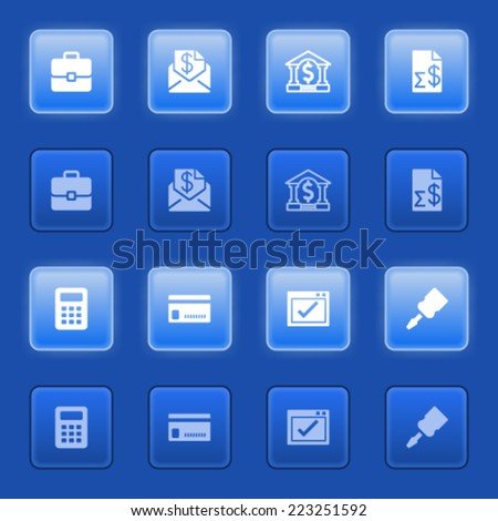 Banking icons for web on blue buttons. - stock vector