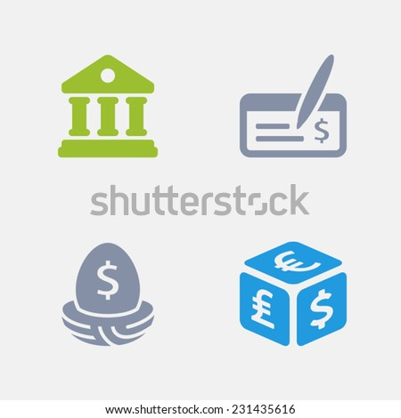 Banking Icons. Granite Series. Simple glyph style icons in 4 versions.  - stock vector