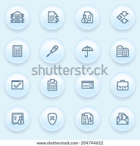 Banking icons on blue buttons. - stock vector