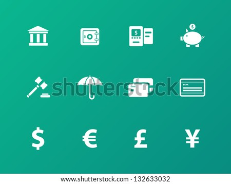 Banking icons on green background. Vector illustration. - stock vector