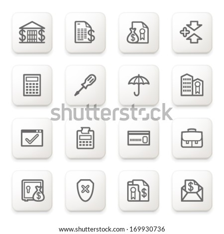 Banking icons on white buttons. - stock vector