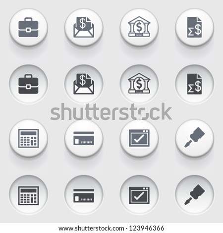 Banking icons on white buttons. Set 2. - stock vector