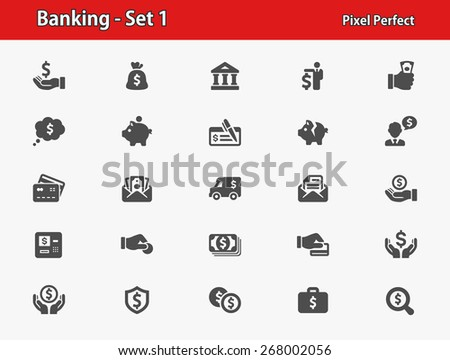 Banking Icons. Professional, pixel perfect icons optimized for both large and small resolutions. EPS 8 format. - stock vector