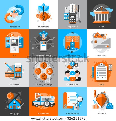 Banking icons set with investment atm credit mortgage isolated vector illustration - stock vector