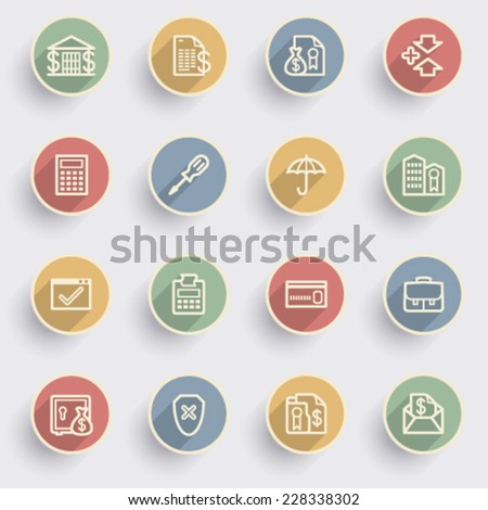 Banking icons with color buttons on gray background. - stock vector