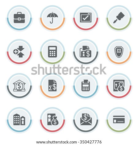 Banking icons with color stickers. - stock vector