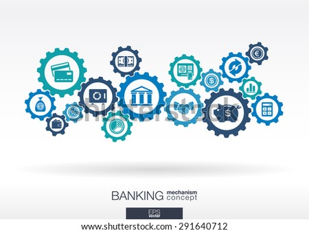 Banking mechanism. Abstract background with connected gears and integrated flat icons. Connected symbols for money, card, bank, business and  finance concepts. Vector interactive illustration - stock vector