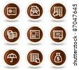 Banking  web icons, chocolate  buttons - stock vector