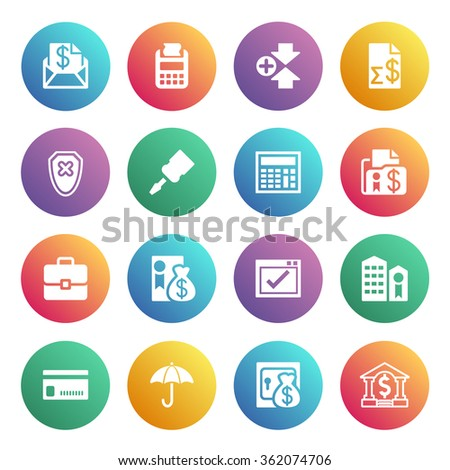 Banking white icons on color buttons. - stock vector