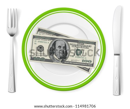 Banknotes on a plate. Illustration on white - stock vector