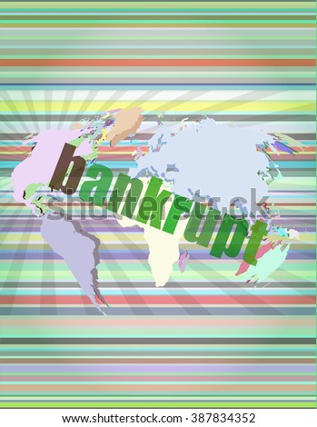 bankrupt word on touch screen, modern virtual technology background vector illustration - stock vector