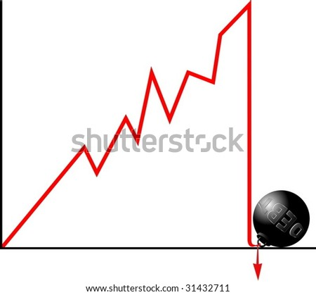 Bankruptcy because of debt concept. Crashed down graph fastened to weight symbolizing debt. - stock vector