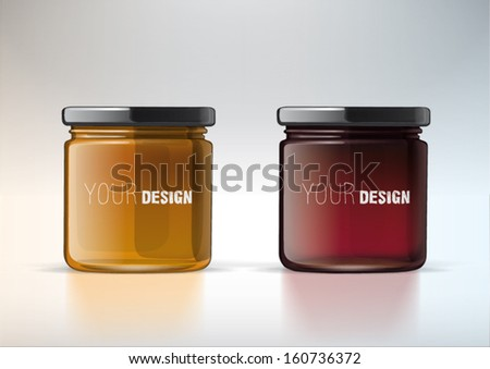 Banks from glass for jam with cover. For new design - stock vector
