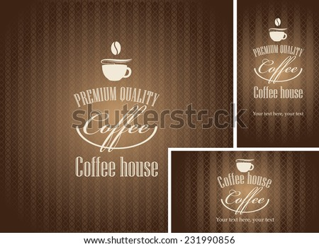 banner and business cards with a cup of coffee on a brown background - stock vector