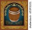 banner barrel advertising wine beer - stock vector