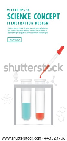 Banner Chemical test tube with dropper on white background. Education and Science and Medical Object Concept. - stock vector