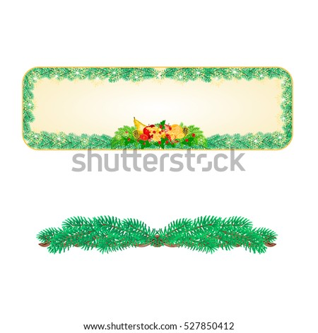 Banner  Christmas Spruce with fruit and pine cones and holly vintage vector illustration