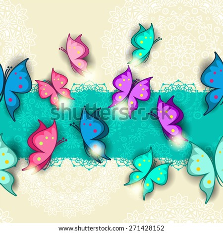 Banner colorful butterflies seamless-transparency blending effects and gradient mesh-EPS 10. - stock vector