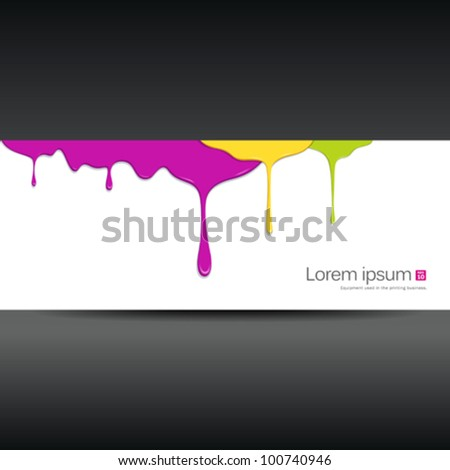 Banner colorful paint dripping design background. vector illustration - stock vector