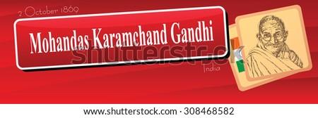 Banner dedicated public event in India - the birthday of Mohandas Karamchand Gandhi. Vector illustration. - stock vector