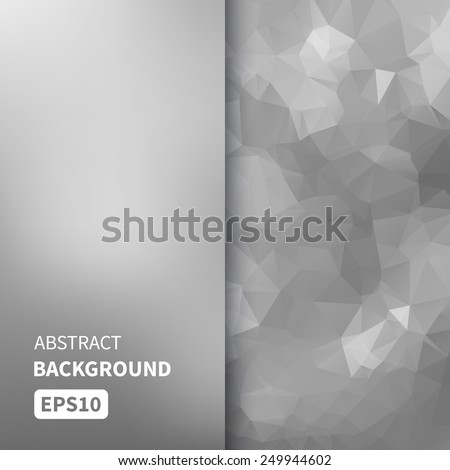 Banner design. Abstract template background with silver triangle shapes. Vector illustration EPS10 - stock vector