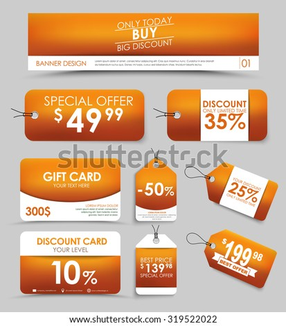 Banner design, discount and gift cards, tags on a orange blurred background. Vector illustration. Set of corporate style.