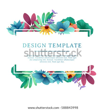 banner design template floral decoration rectangular stock vector 588843998 shutterstock. Black Bedroom Furniture Sets. Home Design Ideas