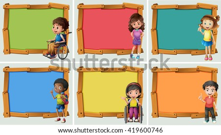 Banner design with many children illustration
