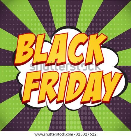 Banner flyer pop art comic Black Friday sale discount promotion.  - stock vector