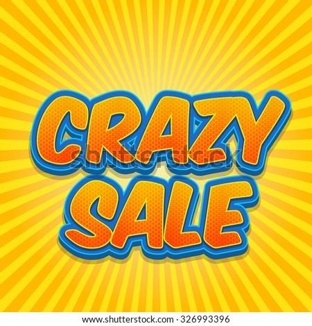 Banner flyer pop art comic Crazy sale discount promotion. Light color version. - stock vector