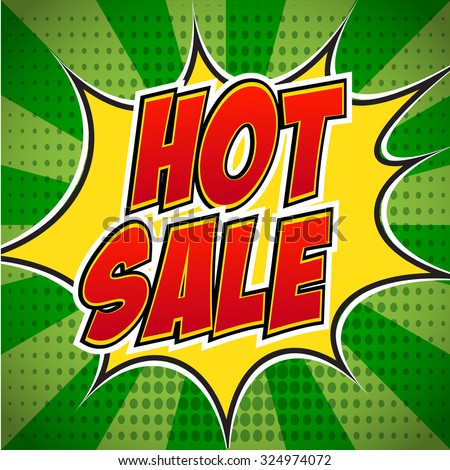 Banner flyer pop art comic Hot sale discount promotion. Decorative background with rays explosive in the pop art style. - stock vector