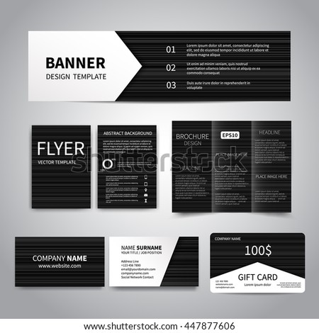 Banner, flyers, brochure, business cards, gift card design templates set with black striped background. Corporate Identity set. Advertising, promotion printing.