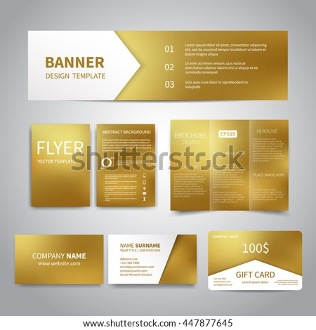 Banner flyers brochure business cards gift stock vector 2018 banner flyers brochure business cards gift card design templates set with gold colourmoves