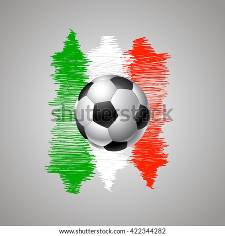 Banner for Euro 2016 World FIFA championship. Euro 2016 Italy participant. Football competition. Advertisement card. Flyer, template, brochure design. Football ball and the flag of Italy - stock vector